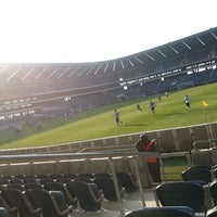 Photo taken at Orlando Stadium by Thapelo C. on 5/18/2013