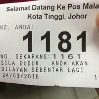 Photo taken at Pejabat Pos Besar Kota Tinggi by Nurul A. on 3/24/2016