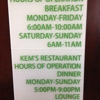 Photo taken at Kem's Resturaunt by Richard E. on 2/1/2013