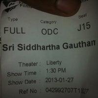 Photo taken at Liberty Cinema by Rajitha D. on 1/27/2013