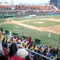 Photo taken at Mudeung Baseball Stadium by jieun L. on 4/9/2013
