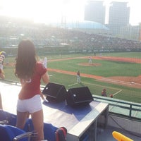 Photo taken at Mokdong Baseball Stadium by Seo E. on 5/4/2013