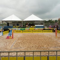 Photo taken at FIVB Beach Volleyball World Cup Final by Bruno J. on 5/30/2013
