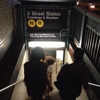 Photo taken at MTA Subway - 8th St/NYU (R/W) by Keilon L. on 8/10/2013