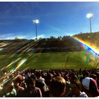Photo taken at Brookvale Oval by Adam G. on 7/17/2017