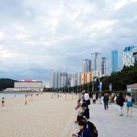 Photo taken at Haeundae Beach by Hannah K. on 10/2/2012