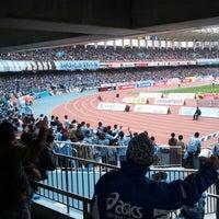Photo taken at Todoroki Athletics Stadium by Yoshiteru T. on 3/30/2013