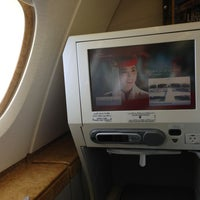 Photo taken at Emirates (Airbus A380) Business Class by Sari K. on 2/22/2013