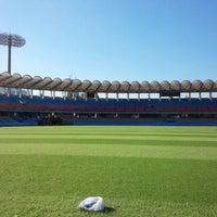 Photo taken at Todoroki Athletics Stadium by Masato H. on 9/28/2013