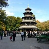 Photo taken at Biergarten am Chinesischen Turm by Pelin O. on 10/14/2012