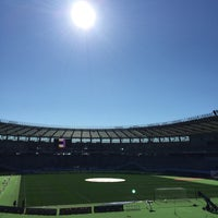 Photo taken at Ajinomoto Stadium by shin1 on 1/1/2016