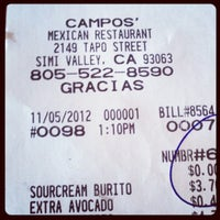 Photo taken at Campos Famous Burritos by Cole G. on 11/5/2012