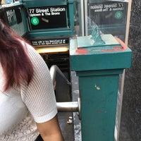 Photo taken at MTA Subway - 77th St (6) by Jacky J. on 6/28/2017