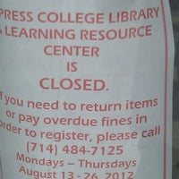 Photo taken at Cypress College Library by Nick T. on 8/21/2012