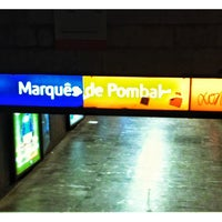 Photo taken at Metro Marquês de Pombal [AM,AZ] by Paula C. on 9/19/2013