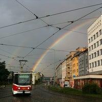 Photo taken at Palmovka (tram, bus, trol) by Jedle J. on 8/20/2013