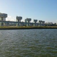 Photo taken at 淀川大堰管理橋 by Kazuhiro T. on 10/16/2013