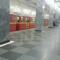 Photo taken at metro Sokolniki by Deni J. on 11/24/2012