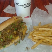 Photo taken at ForeFathers Gourmet Cheesesteaks & Fries by Tyler M. on 6/23/2012