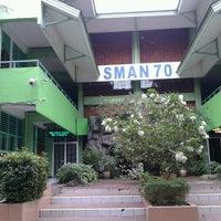 Photo taken at SMAN 70 Jakarta by Nurjana sara L. on 3/8/2014