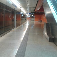 Photo taken at Delhi Aerocity Metro Station by A V. on 4/4/2014
