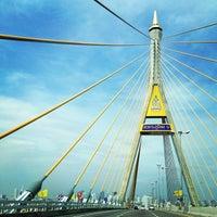 Photo taken at Bhumibol 1 Bridge by Tete V. on 11/30/2013