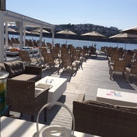 Photo taken at moon beach clup by Emre A. on 5/21/2014