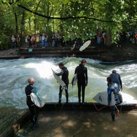 Photo taken at Eisbach Wave by Birgit P. on 5/18/2013