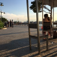 Photo taken at Two Too Large Tables - Hudson River Park by jp k. on 8/6/2016