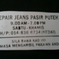 Photo taken at Repair Jeans Pasir Puteh by Nik H. on 4/21/2013