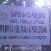 Photo taken at Dinas Kehutanan & Perkebunan Kab. Toraja Utara by Sandy G. on 5/15/2013