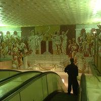 Photo taken at metro Sportivnaya by Ismail A. on 5/27/2013