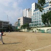 Photo taken at 언북중학교 운동장 by Changhwan K. on 5/30/2015