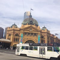 Photo taken at Tram Stop 13 - Federation Square (3/3a/5/6/16/64/67/72) by Abbey K. on 2/22/2013