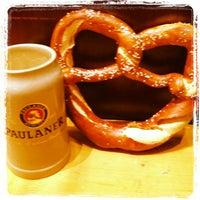 Enjoying a drink at Starkbierfest at Paulaner am Nockherberg in Munich,  Germany.