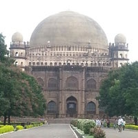 Photo taken at Gol Gumbaz by Soumya N. on 8/16/2014