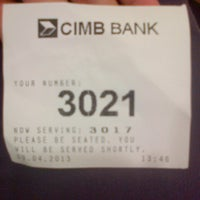 Photo taken at CIMB Bank by Syaira A. on 4/9/2013