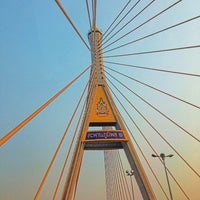 Photo taken at Bhumibol 1 Bridge by Thanpisit Y. on 2/15/2013