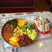Photo taken at Queen Sheba Ethopian Restaurant by Kimberly P. on 5/3/2013