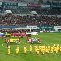 Photo taken at Daejeon Worldcup Stadium by Byungsub L. on 3/27/2015