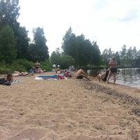 Photo taken at Stråtjära beach by Pernilla E. on 7/13/2013