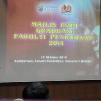 Photo taken at Auditorium Falkulti Pendidikan Universiti Malaya by Zaqwan Z. on 10/15/2014