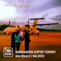 Photo taken at Hanimaadhoo Airport Runway by Ahmed A. on 12/23/2012