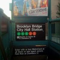 Photo taken at MTA Subway - Brooklyn Bridge/City Hall/Chambers St (4/5/6/J/Z) by Rafael A. on 12/17/2011