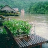 Photo taken at River Kwai Jungle Raft Floating Hotel Kanchanaburi by patirop t. on 6/19/2012