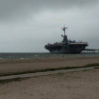Photo taken at Beach by the USS Lexington by Nick M. on 3/8/2017