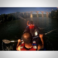 Photo taken at Ponte Ferroviaria do Marco de Canaveses by Miguel P. on 8/13/2014