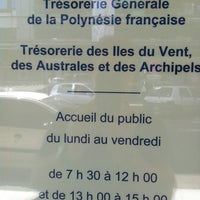 Photo taken at Tresorerie Generale de Polynesie Française TIVAA (Tresorerie des Iles du Vent, Australes & Archipels by Christophe K. on 6/10/2013