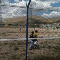 Photo taken at Gürpınar Albay Hayati Evliyaoğlu  Stadyumu by Murat T. on 6/8/2014