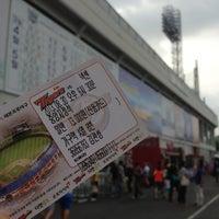 Photo taken at Mudeung Baseball Stadium by kwansung k. on 8/30/2013